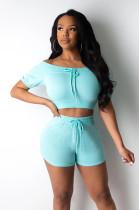 Blue Shirred Details Crop Top & Short Pants Set CY1222
