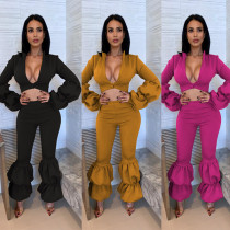 Solid Two Pieces Sets Crop Tops Flare Pants MR163