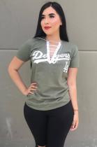 Gray Slogon Graphic Criss-cross Tied Neck T-shirt HM5291