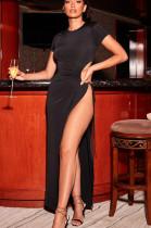 Black Sexy Polyester Short Sleeve Round Neck Split Hem Knotted Strap High Waist Long Dress SH7198