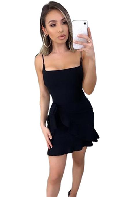 Black Side Knotted Wave Pleated Hem Slip Dress XZ3528