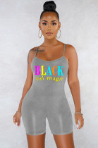 Gray Casual Sexy Polyester Letter Sleeveless Scoop Neck Spaghetti Strap Open Back Cami Jumpsuit SN3765