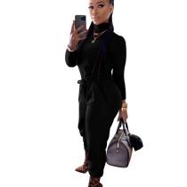 Black High Collar T-Shirt Elastic Waist Bodycon Pants Newest Winter Outfits K8874