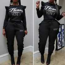 Casual Black Letter Print Ruffle Outfiits W8154