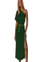 Green asymmertcial shoudler short sleeve long dress with side slit TRS910