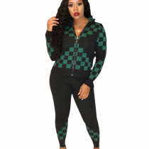 Black Green Winter Street Style Bodycon Checks Patchwork Casual Outfits E8477