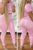 Pink Casual Polyester Short Sleeve Round Neck Ruffle Tee Top Long Pants Sets LD8741
