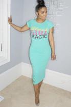 Mint Green Slogon Print Slits Detail Long Dress AA5128