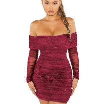 Wine Red Party Shiny Sexy Flat Shoulder Overlay Pleated Mini Dress WMZ2522