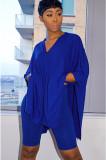 Blue Solid Color Three-Quater Sleeve Loose Pleated Hem T-Shirt GL6235