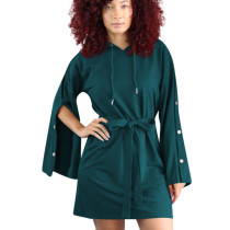 Green Street Style Leisure Buckle Sleeves Hoodie Tied Dress OEP6073