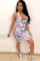 Pink Sexy Polyester Animal Graphic Sleeveless Halterneck Knotted Strap Cami Jumpsuit SH7176