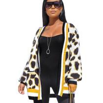 Fleece Lepard Pattern Print Jacket MD288