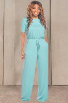 Sky Blue Orange Casual Cotton Short Sleeve Round Neck Drawstring Waist Tee Jumpsuit TRS1033