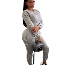 White Gray Wholesale Two-Piece Beading Sets Autumn Winter Leisurewear F8248