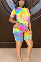 Yellow Multi Casual Polyester Tie Dye Short Sleeve Round Neck Tee Top Shorts Sets TY1841