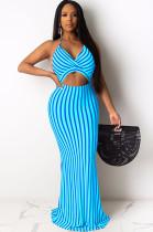 Blue Stripes Halter Front Hollow-out Long Dress AL084