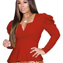 Red Euramerican Irregular Bodycon Elegant Solid Color Ruffle Top DN8331