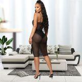 Sexy Strappy See Through Mesh Black Midi Dress JLX3078