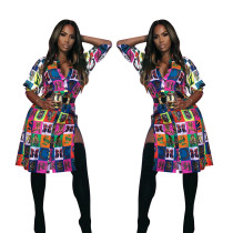 Hot Sell Women Colorful 3/4 Sleeves Split Dress ALS069