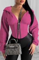 Peach Solid Color Loose Sleeve Drawstring Waist Hoodie Top HY5125