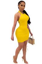 Yellow Solid Backless Halterneck Mini Dress CYF3533