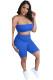 Blue Bandeau Top & Medium-Rise Waist Shorts Sets TRS1028