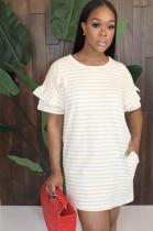 Orange Stripes Wave Ruffles Short Sleeve Dress LD8681
