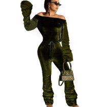 Army Green Mature Women Strapless Pleated Solid Color Warm Jumpsuit OMY8008