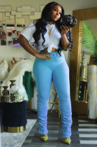 Light Blue Casual Polyester Waist Tie Ruffle Long Pants BM7068
