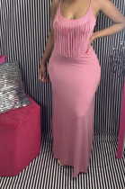 Pink Casual Polyester Sleeveless Halterneck Tassel Hem Long Dress N9218
