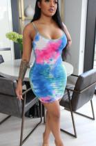Multi Sexy Polyester Tie Dye Sleeveless Spaghetti Strap Open Back Mid Waist Slip Dress AA5149