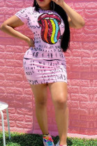 Pink Casual Mouth Graphic Short Sleeve Round Neck Shift Dress OEP6190