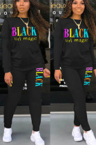 Black Casual Polyester Letter Long Sleeve Round Neck Tee Top Long Pants Sets SN3822