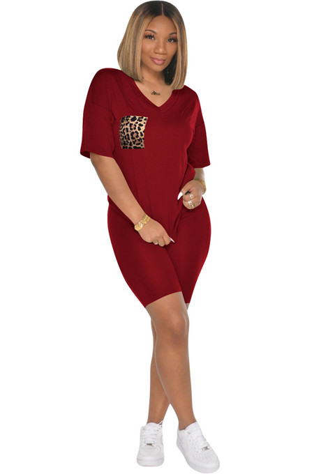 Wine Red Solid Color Front Leopard Graphic Flat Pokect Patched Shirt Top & Shorts Sets
