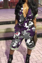 Purple Casual Camo Short Sleeve Lapel Neck Elastic Waist Roll-Up Sleeve Overall Jumpsuit MD074