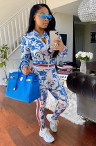 Overall Floral Graphic Print Zip-up Top & Side Stripes Skinny Pants Set YZ2166