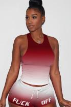 Gradient Red Tanks Drawsting Top & Shirred Shorts Sets GL6262