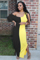 Yellow Black Casual Short Sleeve Spliced High Waist Long Dress TRS1018