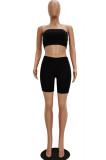 Black Bandeau Top & Medium-Rise Waist Shorts Sets TRS1028