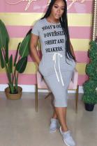 Gray Front Slogan Print Self-tied Loose Shirt Dress YT3211