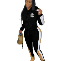 Black Winter Slim Color Splicing Plus Size Hooded Tracksuits ARM8148