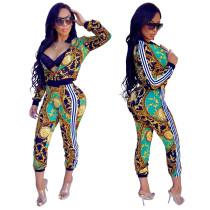 Print Jackets+Skinny Pants Fitness Tracksuits SMR9078