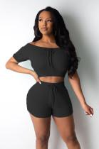 Black Shirred Details Crop Top & Short Pants Set CY1222