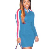 Light Blue V neck Mini Dress with Rainbow Stripes Down the Sides MA6288