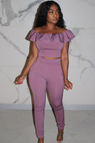 Purple Front Lace Shirred Details Crop Top Mid Riss Pants Set KA7085