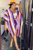 Purple Modest Nylon Striped Half Sleeve Peplum Top Straight Leg Pants Sets F8279