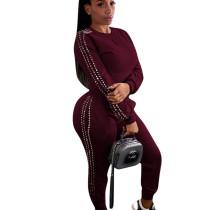 Reddish Brown Wholesale Two-Piece Beading Sets Autumn Winter Leisurewear F8248