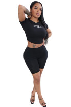 Black Casual Letter Short Sleeve Round Neck Tee Top Shorts Sets F8283