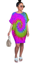 Overall Multicolor Print Batwing Sleeve Loose Carrot Shirt Dress